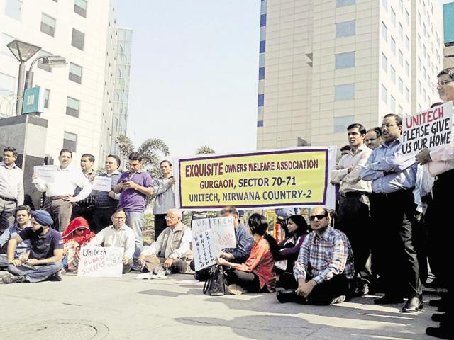 Homebuyers of Unitech Exquisite in Sector 71 protest outside the developer's office on Wednesday.