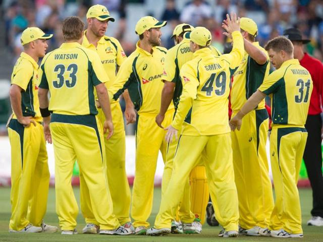 Mitchell Marsh hit the only ball he faced for four to finish off the match for Australia.