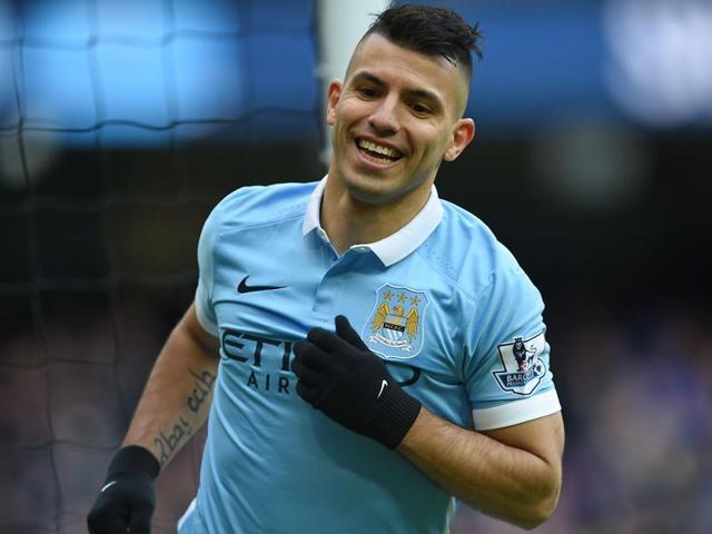Manchester City's Argentinian striker Sergio Aguero celebrates scoring his team's goal against Aston Villa.