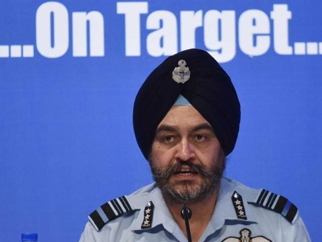 Indian Air Force vice-chief, Air Marshal BS Dhanoa interacts with journalists in Delhi.
