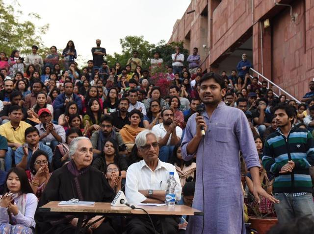 JNUSU president Kanhaiya Kumar addresses students at JNU Campus in New Delhi.