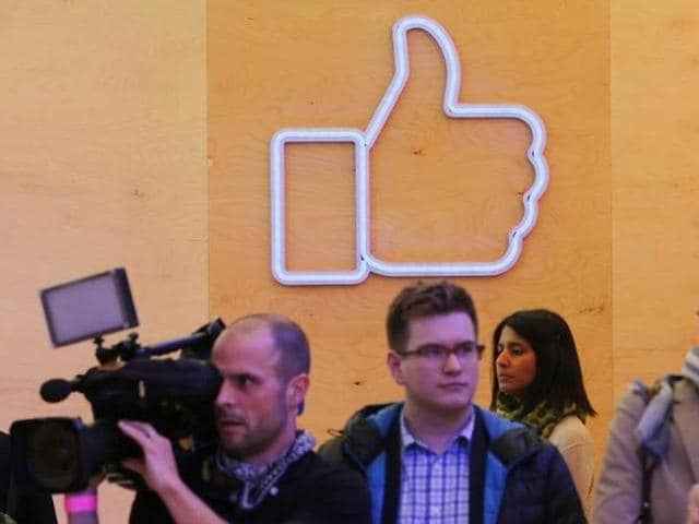 Journalists walk inside the new Facebook Innovation Hub during a media tour in Berlin, Germany in February