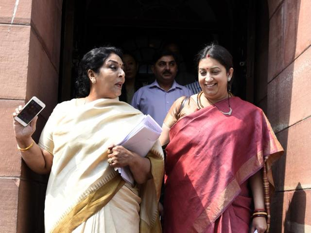 Union HRD minister Smriti Irani and  Minister for food processing industries Harsimrat Kaur Badal.  Political will is necessary to ensure reservation for women in assemblies and Parliament.