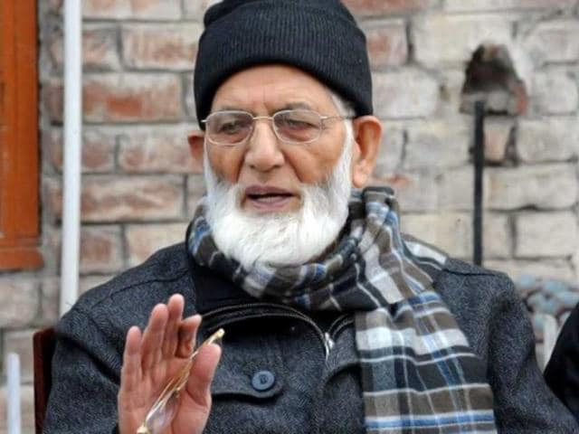 File photo of separatist leader Syed Ali Geelani addressing a news conference in Srinagar. (AFP Photo)