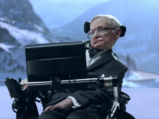 Stephen Hawking in a still from the new Jaguar commercial.