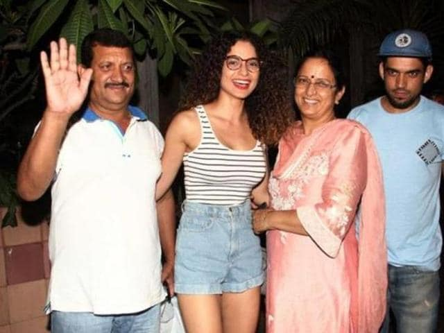 Kangana Ranaut with her parents and brother Akshat.