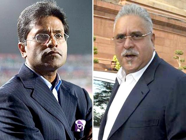 """Lalit Modi  (left) and Vijay Mallya are out of India following enquiries against them. Congress is seeing this as Narendra Modi's """"failure"""" to deliver his poll promise to bring back black money stashed abroad."""