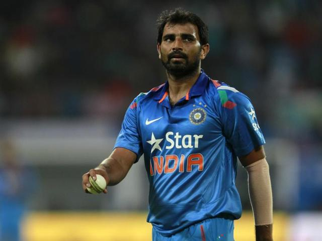 Mohammed Shami during the first one day international match between India vs West Indies.