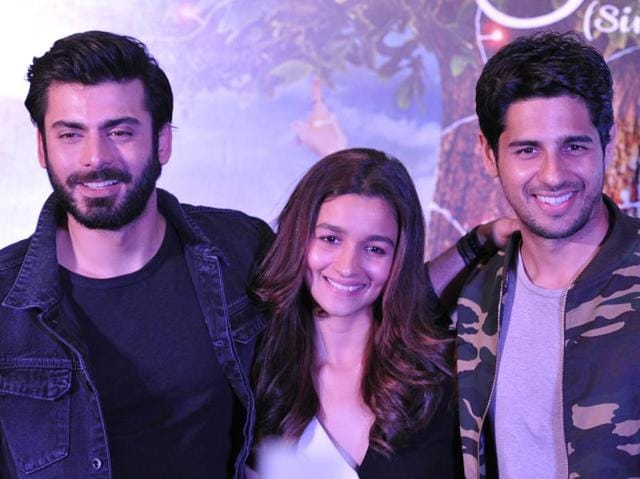 Star cast of the upcoming movie Kapoor and Sons, Alia Bhatt , Sidharth Malhotra and Fawad Khan in Chandigarh on Thursday.