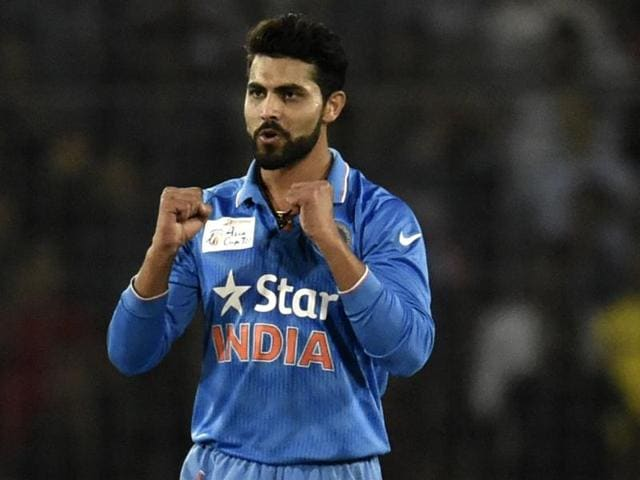 Indian cricketer Ravindra Jadeja reacts after the dismissal of Bangladesh batsman Mashrafe Bin Mortaza.