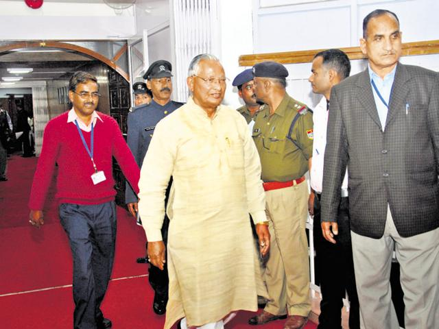 Assembly speaker GS Kunjwal comes out of the House in Dehradun on Thursday.