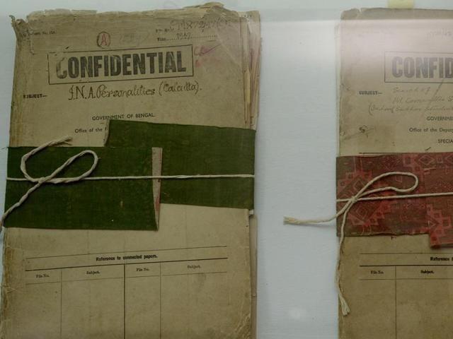 Files related to Netaji Subhas Chandra Bose are displayed at the Police Museum in Kolkata.