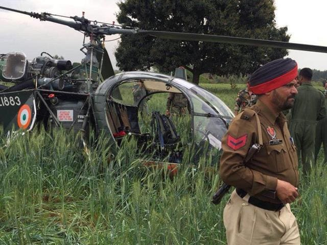 As per sources, the chopper (Z 1883) had taken off from Jalandhar cantonment and was on a routine sortie to Border Security Force Training Camp in Kharkan. On detecting a snag, the pilot made an emergency landing in farmer Balram Singh's fields.
