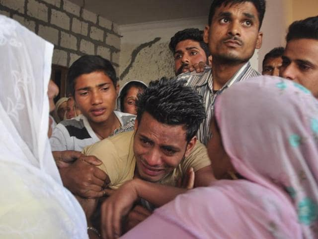 Accident survivor Ankush being consoled by his relatives at his house at Majri village in Panchkula on Thursday; and (right) the victims — Amarjeet Singh (58), his wife, Gurmeet Kaur (55), and daughter, Amandeep Kaur (24).