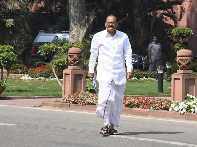 M Venkaiah Naidu leaves after the Cabinet Minister's meeting at Parliament library on Thursday.