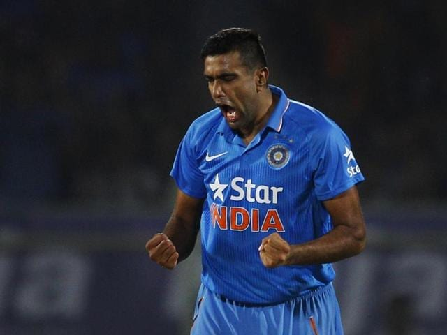 India's Ravichandran Ashwin celebrates after taking the wicket of Sri Lankan batsman Tillakaratne Dilshan.