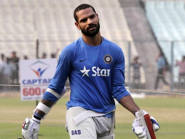 India's Shikhar Dhawan plays a shot during a warm-up match between India and West Indies.