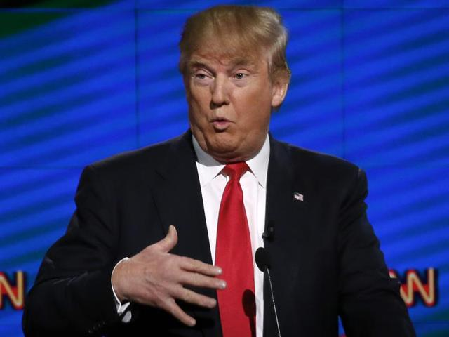 Republican Presidential candidate Donald Trump speaks during the CNN Debate in Miami on Thursday.
