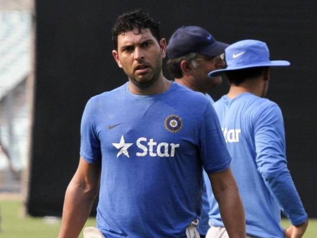 Yuvraj Singh in action in T20 World Cup warm up match against West Indies.