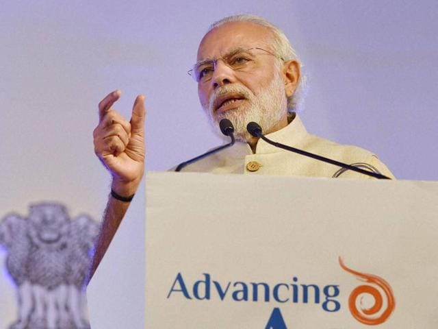 Prime Minister Narendra Modi addresses the IMF conference on 'Advancing Asia: Investing for the Future' in New Delhi.