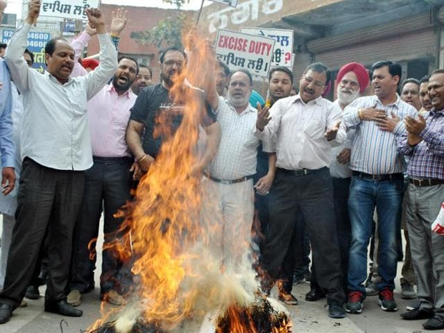 MGNREGS workers hold a rally in Moga on Friday