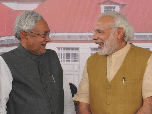 Prime Minister Narendra Modi on Saturday shared the stage with Bihar Chief Minister Nitish Kumar, with whom he had traded barbs during the assembly polls in the state last year.