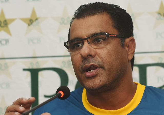 Pakistan head cricket coach Waqar Younis speaks during a press conference.