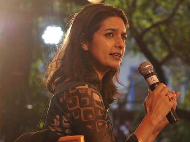 Indian American author Jhumpa Lahiri at a session during the Jaipur Literature Festival.