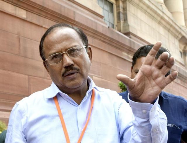 National Security Advisor Ajit Doval speaks at a function in Mumbai.