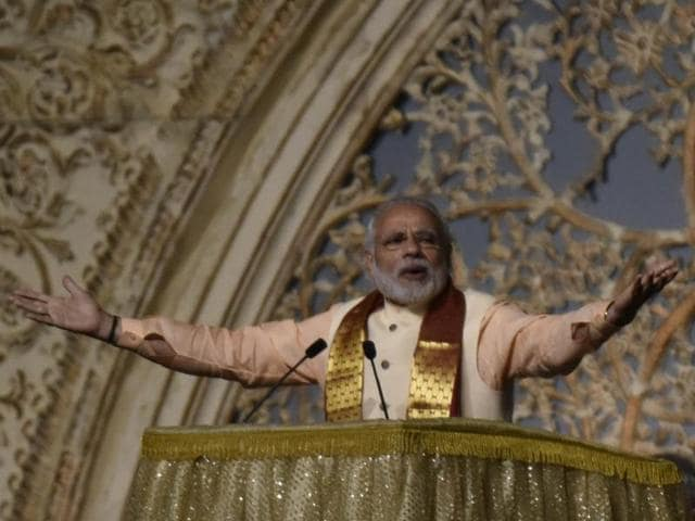Prime Minister Narendra Modi at World culture festival in New Delhi, India, on Friday, March 11, 2016.