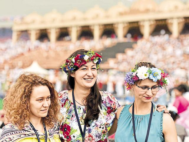 A group of foreign participants at the World Culture Festival on Friday. People from across the world have come to attend the three-day event.