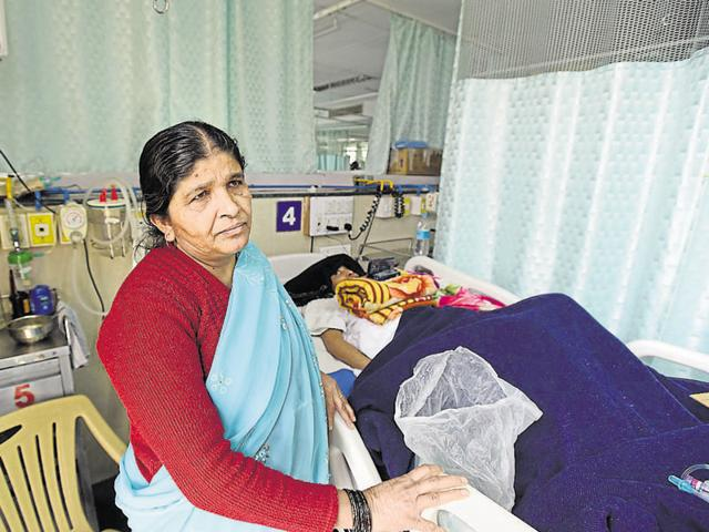 Abida Khatoon, mother of Javed, at All India Institute of Medical Sciences. Javed is admitted in the neurosurgery ward.
