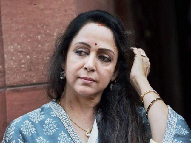 BJP MP Hema Malini during the ongoing budget session at Parliament House in New Delhi on Tuesday.