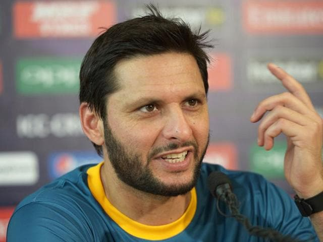 Pakistan's captain Shahid Afridi at a press conference at The Eden Gardens Cricket Stadium in Kolkata on Sunday, ahead of the World T20 cricket tournament.