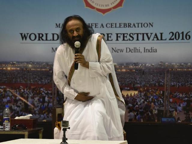 Sri Sri Ravi Shankar addresing the press conference during the World Culture Festival in New Delhi,  on Sunday, March 13, 2016.