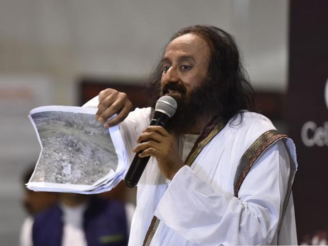Sri Sri Ravi Shankar interacts with journalists on the 3rd day of the World Culture Festival in New Delhi.
