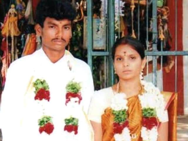 Shankar, a Dalit, who married Kausalya, a high-caste Hindu, was hacked to death by hired killers in Tirupur, Tamil Nadu, on Sunday March 13, 2016 in a case of suspected honour killing.(HT Photo)