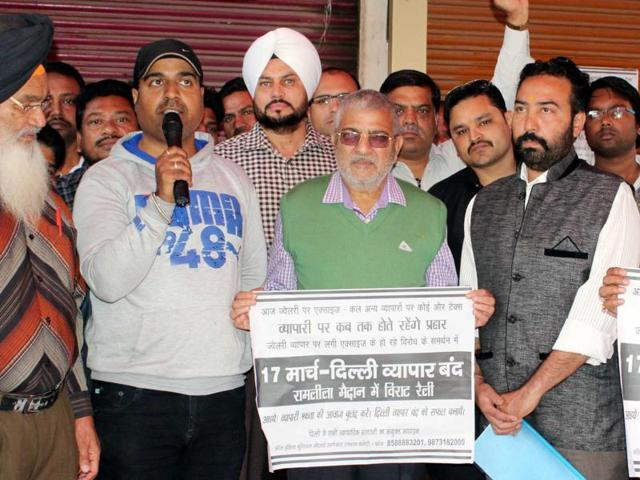 Dr Gandhi with jewellers protesting against the Union government's policies, in Patiala on Sunday.