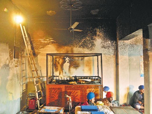The gurudwara after the desecration incident at Ramdiwali Musalmana village near Amritsar on Saturday.