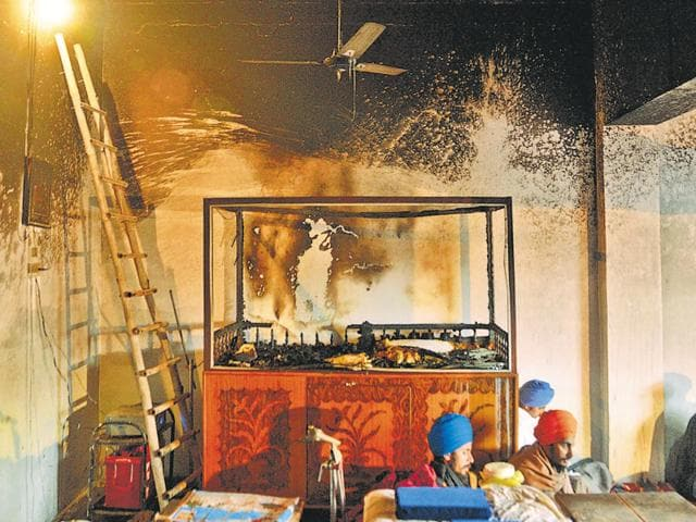 The gurdwara after the desecration incident at Ramdiwali Musalmana village in Amritsar  district on Saturday.