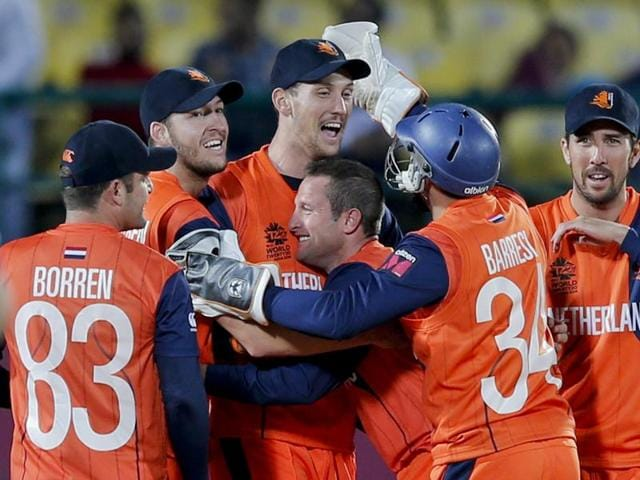 Netherlands players celebrate the wicket of Ireland's Andrew Poynter, during the ICC World Twenty20.