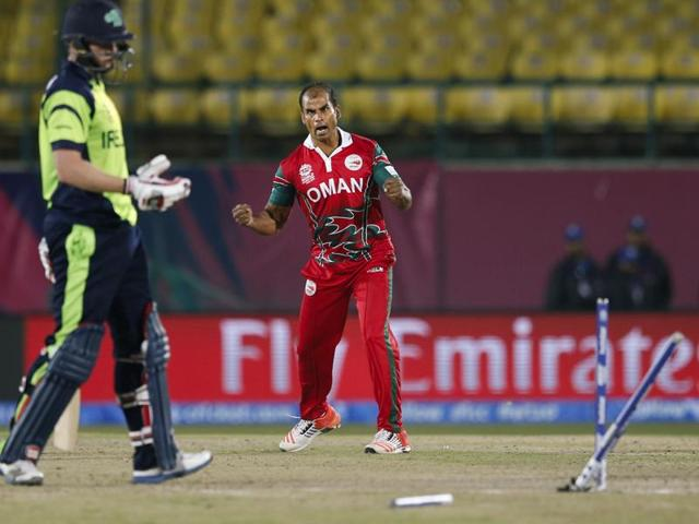 Ireland's Kevin O'Brien is bowled out by Oman's Munis Ansari during the ICC World Twenty20 2016.