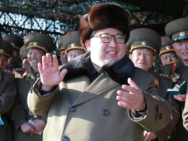 North Korean leader Kim Jong-Un attending the Korean People's Army tank crew competition.