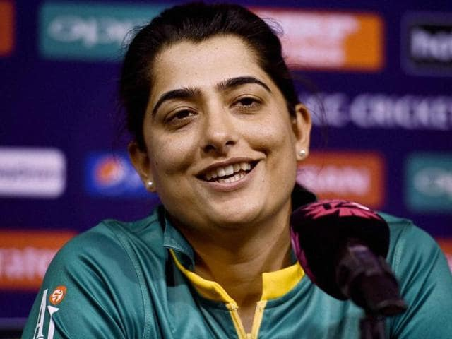 Pakistani women cricket team captain Sana Mir addressing a press conference.
