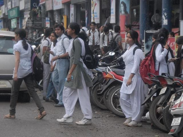 Students come out of a coaching centre at Mansarover Complex.