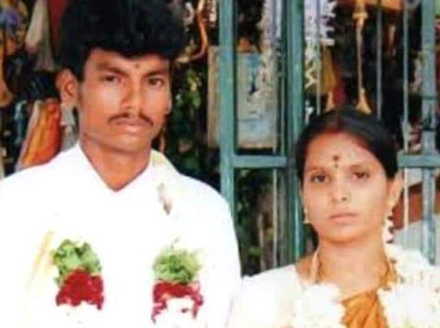 Shankar, a Dalit man, who married Kausalya, a high-caste Hindu, was hacked to death by hired killers in Tirupur, Tamil Nadu, on Sunday .(HT Photo)