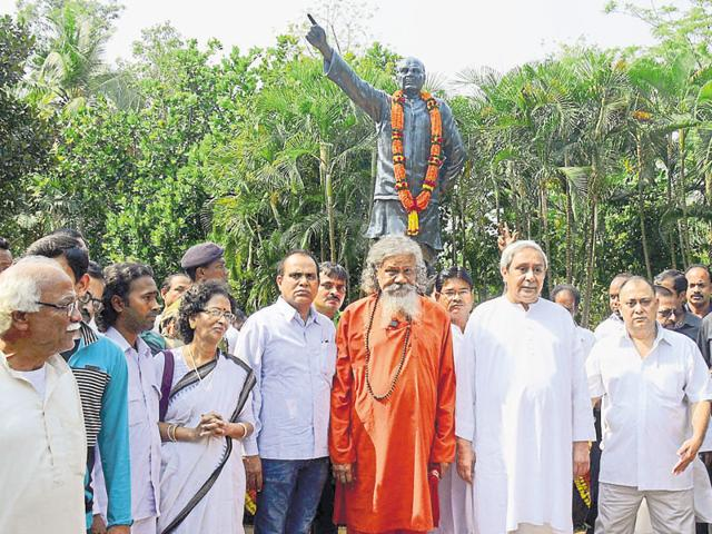 Biju Patnaik's chief minister-son Naveen at a felicitation ceremony in Odisha.