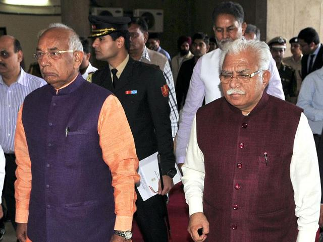 Punjab and Haryana governor Kaptan Singh Solanki and Haryana chief minister Manohar Lal Khattar during budget session at Haryana Vidhan Sabha in Chandigarh on Monday.