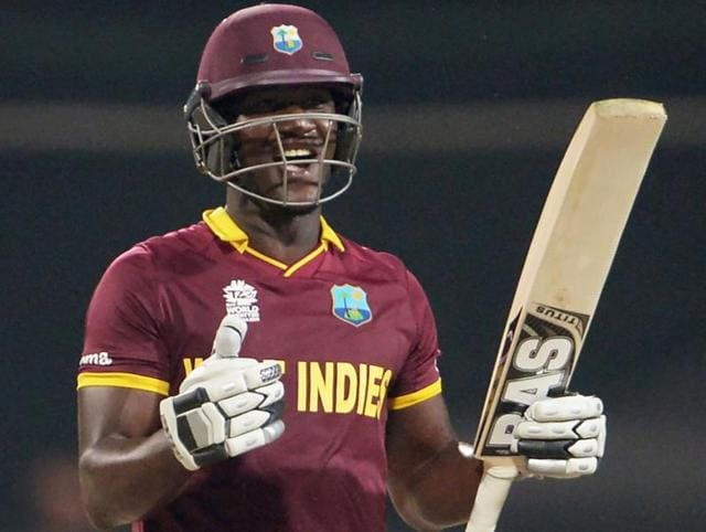 West Indies captain Darren Sammy plays a shot during a practice match between Australia and West Indies during the World T20 at Eden Gardens in Kolkata.