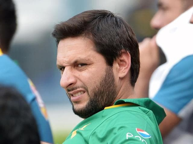 Pakistan captain Shahid Afridi addresses a press conference in Kolkata.